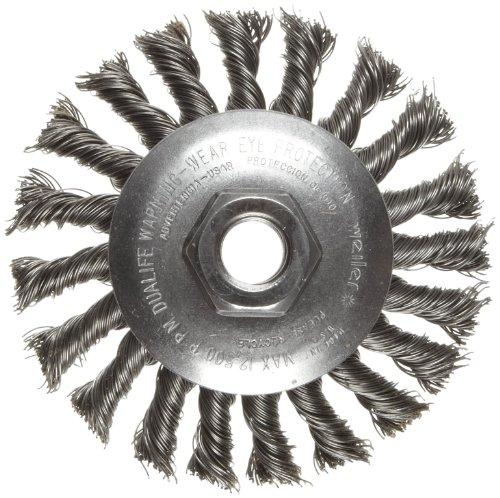 "Weiler Dualife Bevel Wire Wheel Brush, Threaded Hole, Steel, Partial Twist Knotted, 4-1/2"" Diameter, 0.020"" Wire Diameter, 5/8-11"" Arbor, 1"" Bristle Length, 3/8"" Brush Face Width, 12500 rpm"