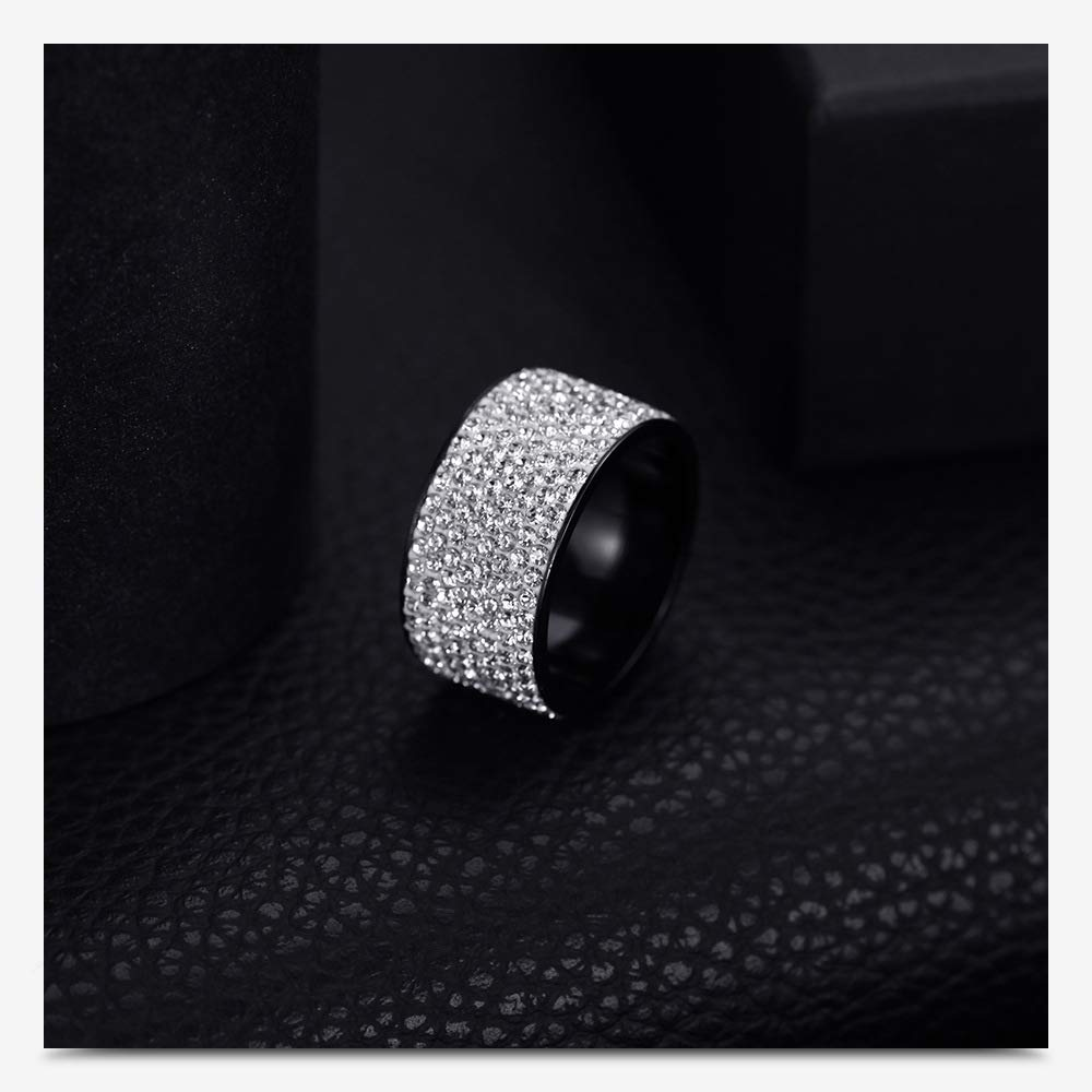 Jewelrysays 12MM Wide 8 Row Clear Crystal Ring Men Women Stainless Steel Iced Out Rings