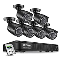 ZOSI 1080P Home Security Camera System Indoor/outdoor, 2MP CCTV DVR 8 Channel with Hard Drive 1TB and 6 x 1080P Surveillance Bullet Camera Outside,Remote Access,Motion Detection