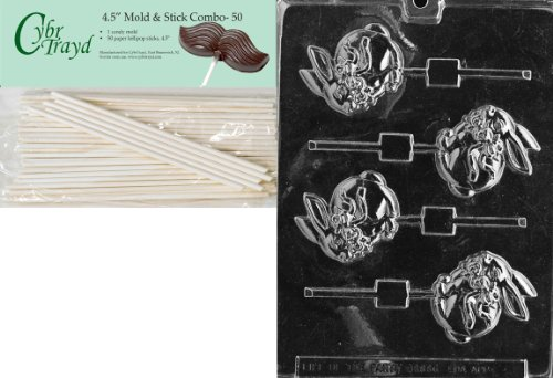 Cybrtrayd Bunny with Bow Lolly 3 Easter Chocolate Candy Mold