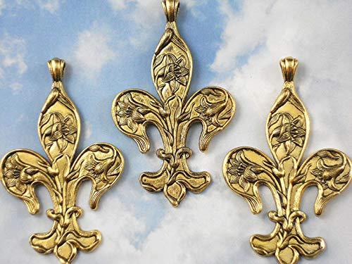 (3 Fleur Large Pendants with Raised Lilies Fluer Gold Tone #ID-217)