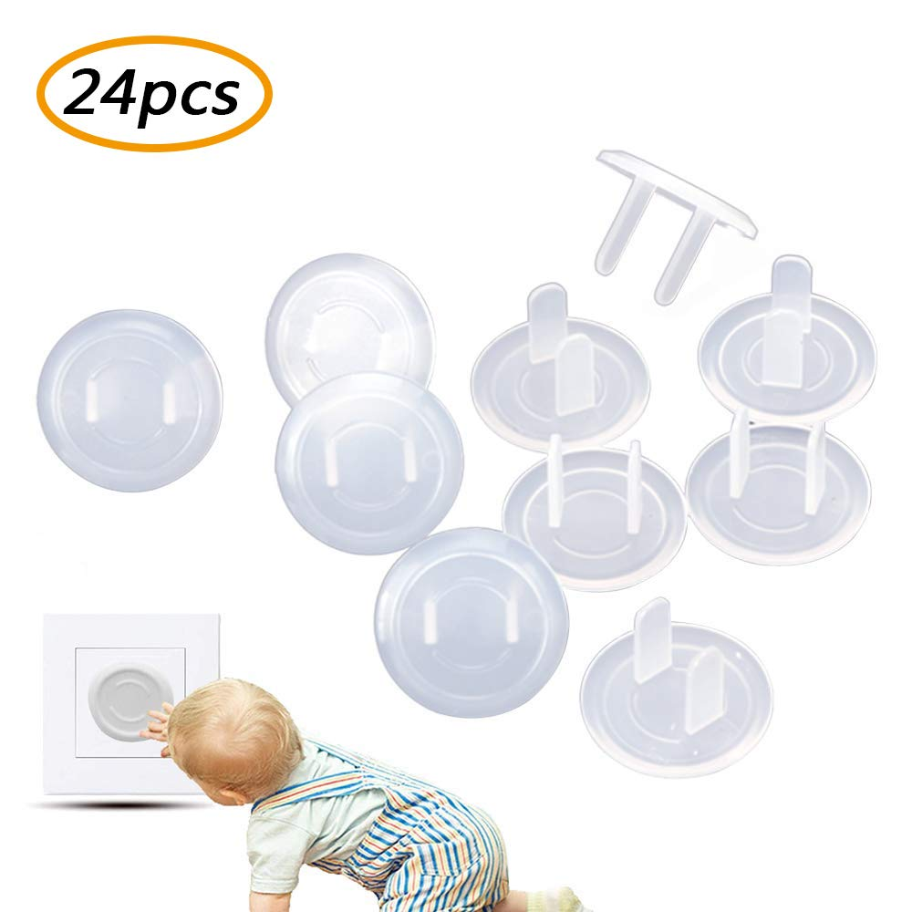 Plug Socket Covers,Transparent Child Socket Protective Cover,Protection Anti Electric Shock Plugs for Kids Safety Protector Rota (24pcs)