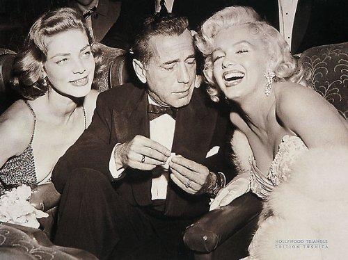(24x32) Hollywood Triangle Marilyn Monroe Humphrey Bogart Lauren Bacall Movie Poster Print