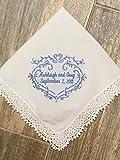 Something blue, wedding handkerchief, bridal gift, bride hanky, personalized wedding hanky, gift for bride, bouquet wrap