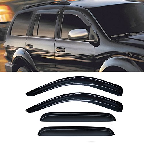 (Alxiang 4pcs Dark Smoke Outside Mount Style Sun Rain Guard Vent Shade Window Visors Fit 98-03 Dodge Durango / 00-04 Dakota Crew Cab (Aka Quad Cab) Which Has 4 Full Size Doors)