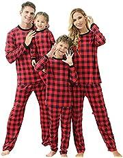 Family Matching Christmas Pajamas Two Pieces Xmas Pjs Set Tops Pants Snowman Print Holiday Sleepwear Nightwear