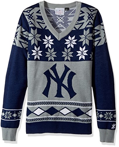 Forever Collectibles New York Yankees Womens Big Logo V-Neck Sweater Small