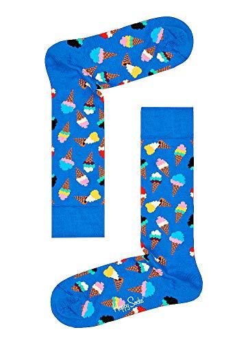 Ice Socks Cone Cream - Happy Socks Unisex Ice Cream Cones Crew Socks (One Pair) (Blue/Multi, 10-13)