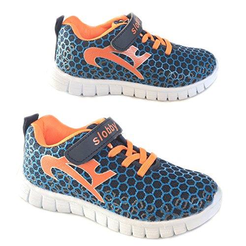 Slobby Kinder Sportschuh Sneaker Freizeitschuh veschiedene Farben NEU Navy / Orange 34
