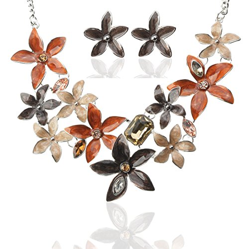 TAGOO Vintage Statement Necklace and Earrings Jewelry Sets for Women in Crystal Resin, Best Gift for Wife and Girlfriend (Flower Design (Cheap Greek Goddess Costume)
