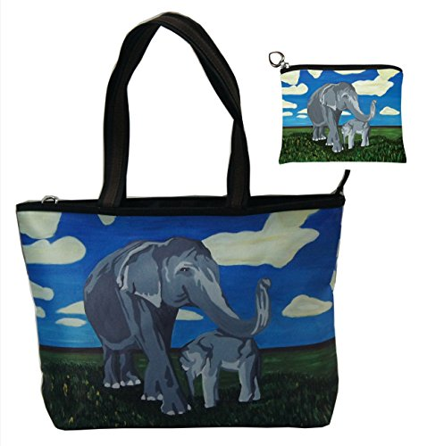 Elephant Gift Set Shoulder Bag and Coin Purse- Support Wildlife Conservation - Read How - From My Original Painting, Gentle Giants (Elephant Set Coin)