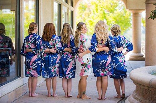 USDisc t Elegant Short Sleeve Printing Peacock Silk Women s Kimono Robe for Parties  Wedding Bridal 07bb71101