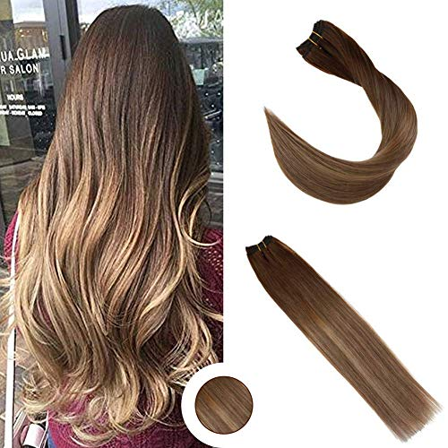 Ugeat 16 Inch Double Weft 100% Real Remy Human Hair Straight #6 Brown Fading to #8 Light Brown with #14 Blonde Balayage Dip Dyed Weft Hair Weaving Extensions Brazillian 100 Gram (Dark Blonde To Light Blonde Dip Dye)