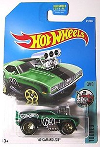 Hot Wheels 2017 Tooned '69 Camaro Z28 171/365, Green - Camaro Cross