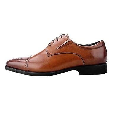 PDFGO Herren Echtes Leder Derby Vintage Spitze Ups Toe Brogues Uniform Schuhe Business Hochzeit Abendgesellschaft...