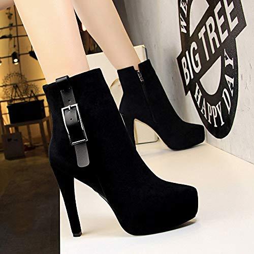 Con Sixminyo Botines Leather De Suede Size Negra 34 color Cremallera Lateral Mujer Black Black Y Botas Tacón Alto xBxtWf7nqw