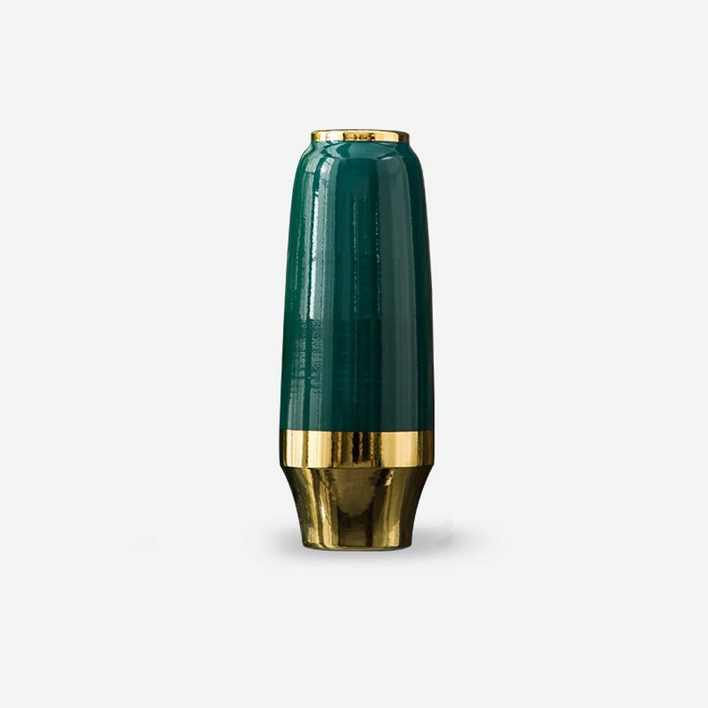 QYSZYG セラミック花瓶ホームドライ花瓶リビングルーム花瓶装飾色グリーン 花瓶 (サイズ さいず : 9.5×18×49CM) B07R3T65JC  9.5×18×49CM