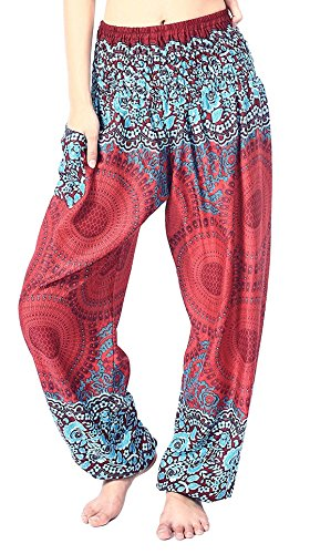 (vvProud Bohemian Clothes Smocked Waist Rose Flower Prints Harem Pants - Perfect for Yoga, Relaxation, Night Wears - Men, Women, Kids (Maroon Rose))