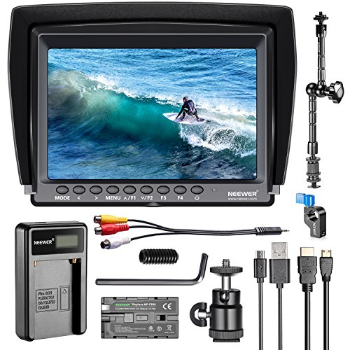Neewer F100 7-inch 1280×800 IPS Screen Camera Field Monitor Kit: Support 4k input with 2600mAh Rechargeable Li-ion Battery, USB Battery Charger and 11.8-inch Magic Arm for DSLR Camera/Camcorder