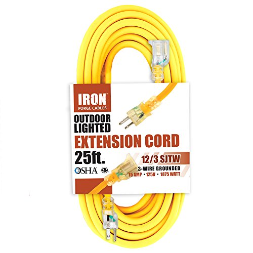 Polar 6 Light Single (25 Foot Lighted Outdoor Extension Cord - 12/3 SJTW Heavy Duty Yellow Extension Cable Extension Cable with 3 Prong Grounded Plug for Safety - Great for Garden and Major Appliances)