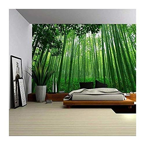 Close Up View into a Pure Green Bamboo Forest Wall Mural