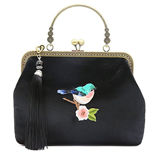 Miss Cat Tote Bag Shoulder Bag Crossbody Bag for Women Small Embroidered Bird Bag Tassel by - Sunglasses Embroidered