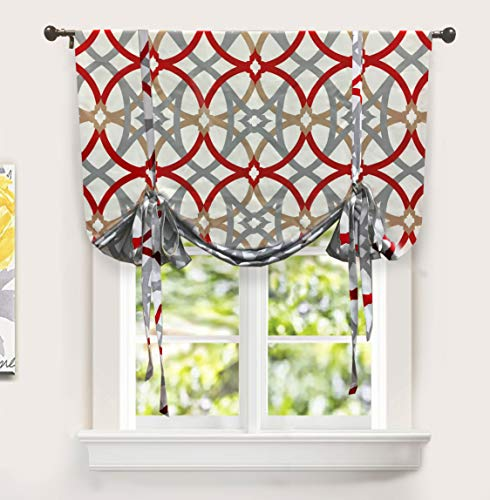 DriftAway Alexander Spiral Geo Trellis Pattern Tie Up Curtain Room Darkening Thermal Insulated Blackout Window Adjustable Balloon Curtain for Small Window Rod Pocket 45 Inch by 63 Inch Red and Gray (Kitchen Red And Gray)