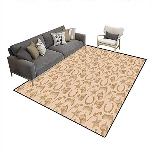 (Carpet,Engraving Style Star Boot and Money Revolver Line Pattern Worn Out Dotted Backdrop,Print Area Rug,Tan Brown 6'6