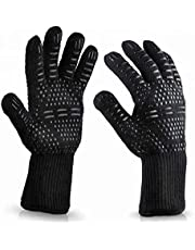 1 Pair BBQ Grill Gloves Heat Resistant Kitchen Oven Pot Holder Silicone Non-Slip Glove for Cooking, Barbecue, Baking, Welding, Fireplace, Cutting and Outdoor Camping (Black)