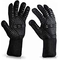 1 Pair BBQ Grill Gloves Heat Resistant Kitchen Oven Pot Holder Silicone Non-Slip Glove for Cooking, Barbecue, Baking…