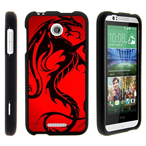 TurtleArmor | Compatible with HTC Desire 510 Case [Slim Duo] Two Piece Hard Cover Slim Snap On Case on Black - Red Dragon (Virgin Mobile Htc Phone Case)