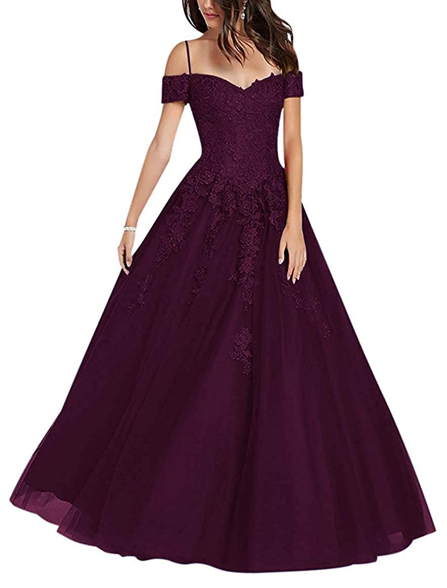 Grape NewFex Off Shoulder Prom Gown Tulle Applique Aline 2019 Formal Evening Dresses for Women