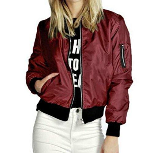 Hemlock Cropped Jacket Teen, Juniors Women Slim Biker Motorcycle Baseball Jacket Soft Zipper Short Coat (S, Wine) ()