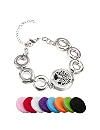 BESTTERN Aromatherapy Essential Oils Diffuser Locket Bracelet/Stainless Steel Metal Mesh Bangle Jewerlry