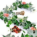 Artificial-Greenery-Garland-Fake-Vines-Pack-of-2-6FT-Faux-Green-Garland-with-White-Flowers-and-56FT-Artificial-Ivy-Green-Leaves-Garland-Decorative-Vines-Wedding-Arch-Table-Runner-Garland