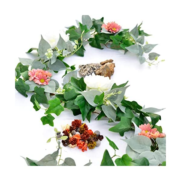 Artificial Greenery Garland, Fake Vines – Pack of 2 – 6FT Faux Green Garland with White Flowers and 5.6FT Artificial Ivy Green Leaves Garland, Decorative Vines Wedding Arch Table Runner Garland
