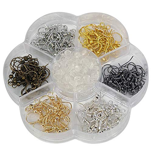 Chenkou Craft 120pcs Fish Earring Hooks Ear Wires with 120pcs Earring Backs 18MM Hypo Allergenic Surgical Steel with Ball and Coil Mixed Color (Mix, 18mm)