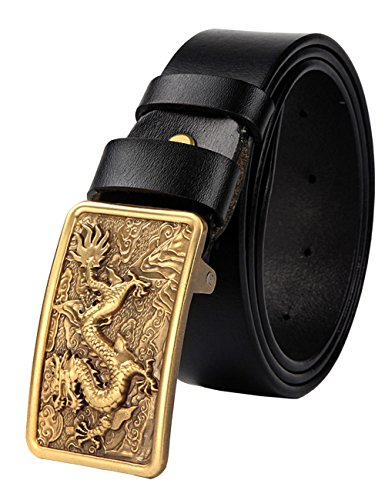 115 Grain - Menschwear Men's Adjustable Belt Grain Leather Waistband with Copper Slide Buckle e 37MM Black 115cm