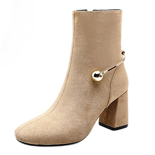 Zipper Genuine Leather U Buckle Pointed Women With Shoes Thick Heels QZUnique Toes apricot High Stylish Martin Shoes wSPqOxH