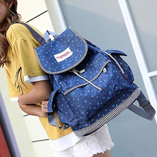 Sunshinehomely Women Girls Denim Drawstring Backpack Leisure Student Schoolbag Large Capacity Double Shoulder Travel Bag by Sunshinehomely (Image #2)