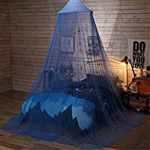 Jeteven Polyester Dome Bed Canopy Kids Play Tent Mosquito Net with Stars for Baby Kids Indoor Outdoor Playing Reading Height 250cm/98.42in