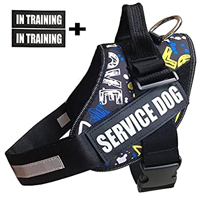 Faylife Service Vest Dog Harness - Adjustable Nylon Dog Vest with Reflective Patches for Service Dogs Large Medium Small Training