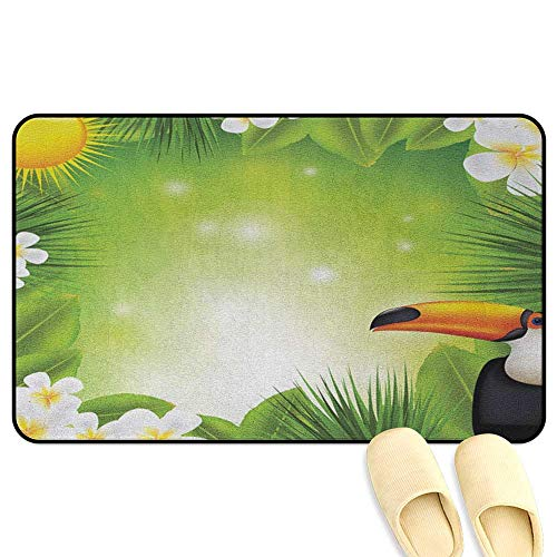 Tropical Animals Microfiber Absorbent Bath Mat Toucan Birds with Macro Exotic Plants with Fresh Colors Nature Design Green Yellow Hard Floor Protection W19 x L31 INCH