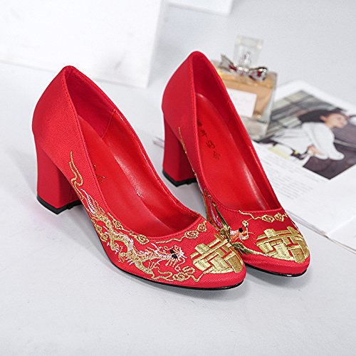 Heeled Bride Red Heel KPHY Wedding Traditional High seven Heel Shoes Totem Embroidery Shoes Thirty Bridesmaid Bridesmaid 7Cm Chinese Shoes FPwF4q