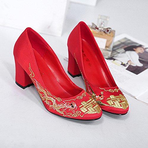 De Gules Bordado De Honor Dama Chino Y Tacon Boda De Totem Dama 7Cm Zapatos Zapatos Talón Novia Alto Treinta De Tradicional Cinco Zapatos De La Rojo KPHY De Honor six Talón De Thirty p570gwqX