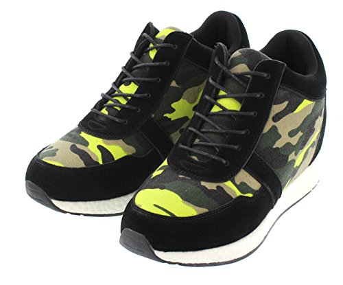 inches 2 Elevator Camo Black CALTO Sneakers Taller height Shoes H2244 Fashion 3 Increasing Yellow tpUEqAwn