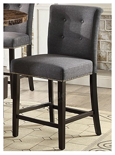 Set of 2 Counter Height Dining Chairs 24'H Seat in Blue Grey Color