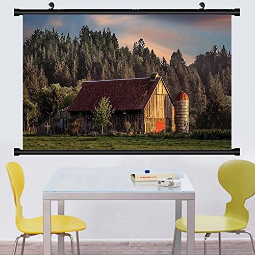 Gzhihine Wall Scroll Farmhouse Decor dyllic Sunset at Countr