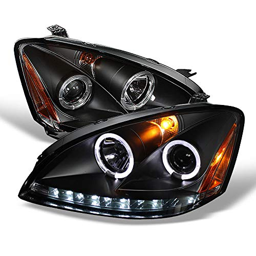 ACANII - For 2002-2004 Nissan Altima LED DRL Halo Black Housing Projector Headlights Headlamps, Driver & Passenger Side