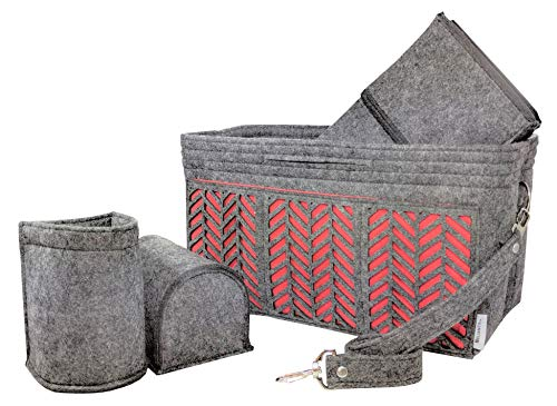 BELIANTO Felt Purse Organizer - Middle Insert, Bottle Holder for Tote Handbag Purse (Herringbone) (Medium, Dark ()